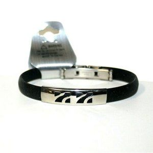 Fashion Bracelet Silver Slide Rubber Black Band